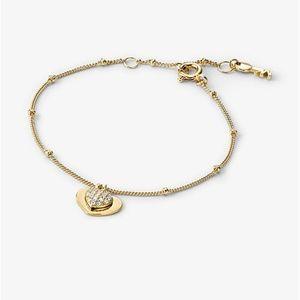 MICHAEL KORS 14K Gold Pavé Heart Duo Bracelet